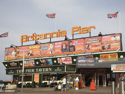 Britannia Pier entrance with adverts for theatre shows, Great Yarmouth, Norfolk, England. (Photo by: Geography Photos/Universal Images Group via Getty Images)